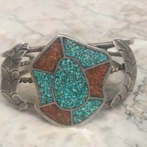 Jewelry - Native American Sterling Turquoise Coral Bracelet
